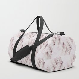 Abstract geometric pattern.Pinkish beige striped triangles . Duffle Bag