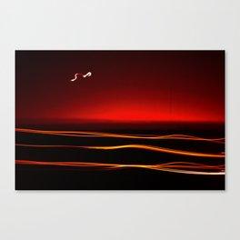 Night Lights Moon and Three Autos Canvas Print