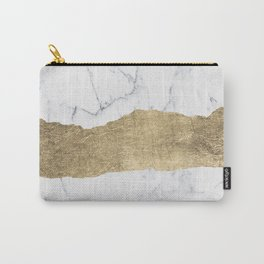 Elegant faux gold foil gray white modern marble Carry-All Pouch