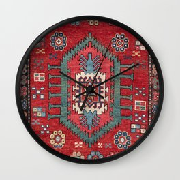 Tribal Honeycomb Palmette IV // 19th Century Authentic Colorful Red Flower Accent Pattern Wall Clock