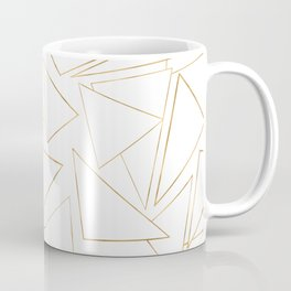 Modern Minimalist Gold White Strokes Triangles Coffee Mug