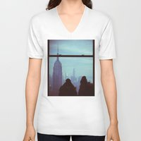 manhattan V-neck T-shirts featuring Manhattan by Mt Zion Press