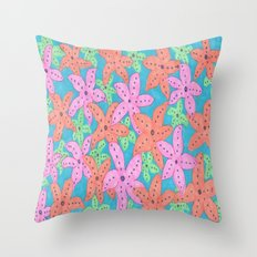 Tropical Starfish Print Throw Pillow