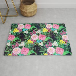 Pretty hand paint watercolor floral design Rug