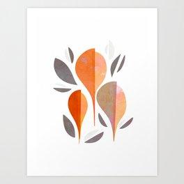 Minimal Autumnal Leaf Trio #abstractart Art Print