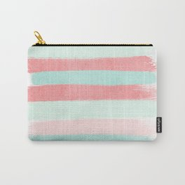Painterly Stripes abstract trendy colors gender neutral seaside coral tropical minimal Carry-All Pouch