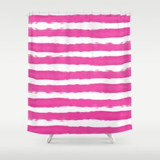 Simple pink and white handrawn stripes - horizontal - for your summer on #Society6 Shower Curtain