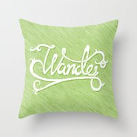 not all who wander Throw Pillows featuring Not All Who Wander... by Christine Fleming