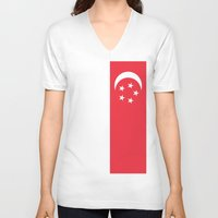 singapore V-neck T-shirts featuring Flag of Singapore by Neville Hawkins