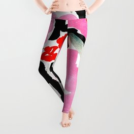Pink Modern Flowers L.A. Chic Cute Girls Room Pink Abstract Red Flowers Leggings