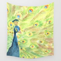 peacock Wall Tapestries featuring Peacock by Annie Mason