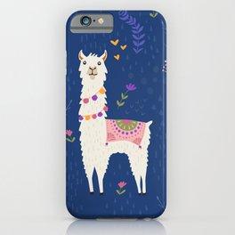 Llama on Blue iPhone Case