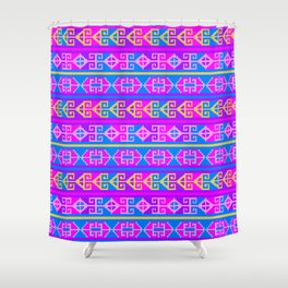 Colorful Mexican Aztec geometric pattern Shower Curtain