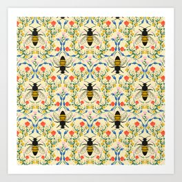 Bee Garden - Cream Art Print