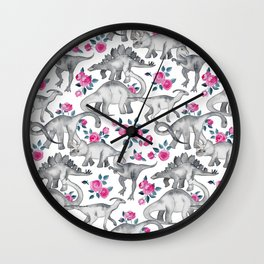 Dinosaurs and Roses - white Wall Clock