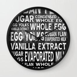 Cuban Flan Word Food Art Poster (Black) Wall Clock