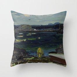 The Harbor Monhegan Coast Maine 1913 Throw Pillow