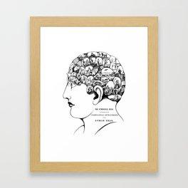Phrenology symbolic head, psychology, psychiatry psychoanalysis Framed Art Print