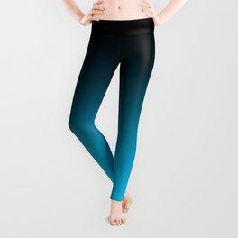 Black and Aqua Blue Ombre Leggings