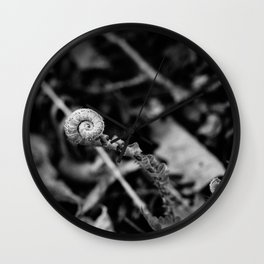 The Fiddlehead in Black and White Wall Clock