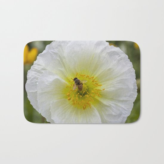 White Poppy with Bee Bath Mat