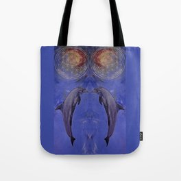dolphin with flower of life Tote Bag