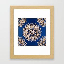 Blue and Gold Mandala Framed Art Print