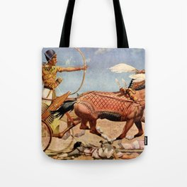 "Classical Masterpiece ""Egyptian King Tut on Chariot"" by Herbert Herget Tote Bag"