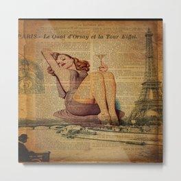 vintage newspaper print paris eiffel tower pin up girl Metal Print
