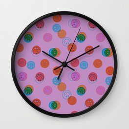 Smiley Face Stamp Print in Purple Wall Clock