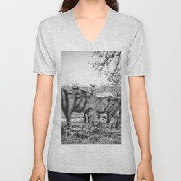 Wild Horses  - Black And White Unisex V-Neck