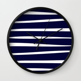 Blue- White- Stripe - Stripes - Marine - Maritime - Navy - Sea - Beach - Summer - Sailor 4 Wall Clock