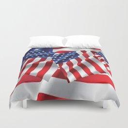Patriotic American Flag Abstract Art Duvet Cover