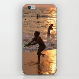 Frisbee Thrower on Varkala Beach at Sunset iPhone Skin