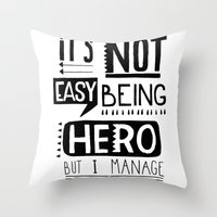 hero Throw Pillows featuring hero by ulas okuyucu