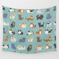 cats Wall Tapestries featuring Cats! by DoggieDrawings