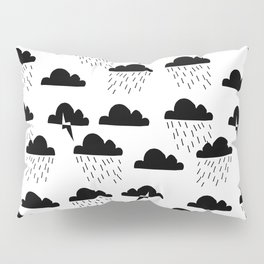 Clouds linocut black and white printmaking pattern black and white Pillow Sham