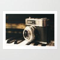 Vintage Camera on Piano Art Print