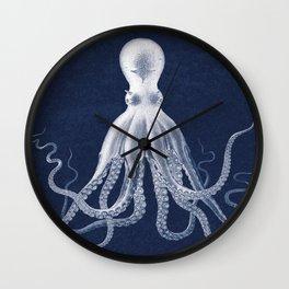 Navy, Giant Octopus Poster, Octopus Art Print, Lord Bodner's Octopus, Lord Bodner Octopus, Nautical Octopus, Giant Octopus Poster, Nautical Art Wall Clock