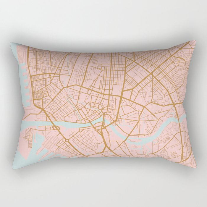 Pink and gold Manila map Rectangular Pillow