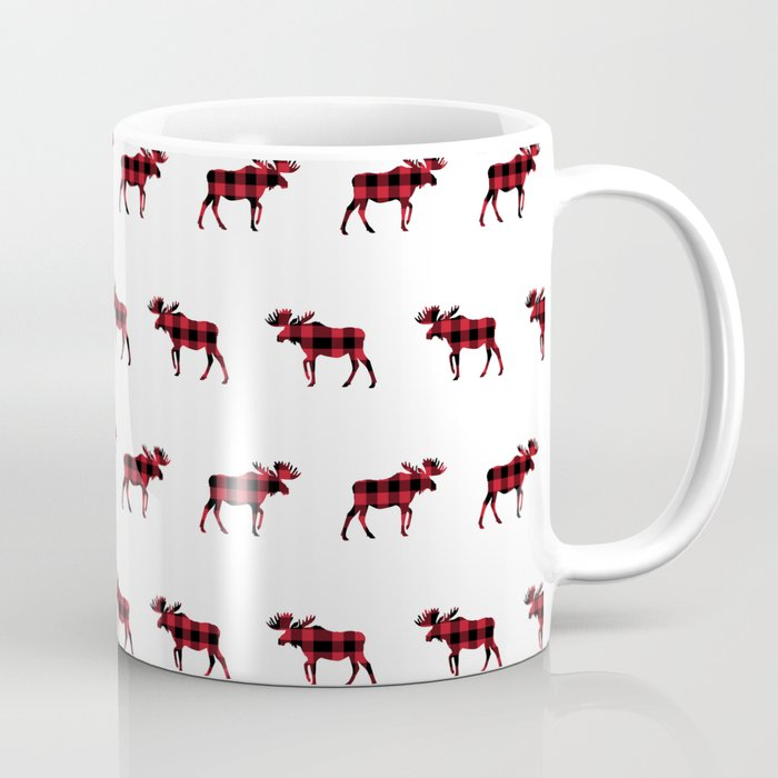 Moose Buffalo Plaid forest camping glamping outdoors forest bathing Coffee Mug