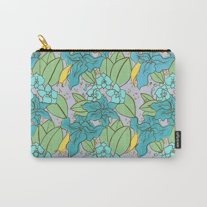 Blue Lilies and Orchids Carry-All Pouch