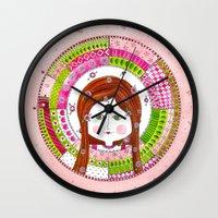 virgo Wall Clocks featuring Virgo by Sandra Nascimento