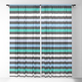 Sky Blue Minty Green Fun Stripes Sheer Curtain