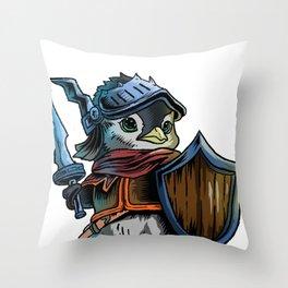 Knight Penguin  Warrior  Sword Cavalier Rider Gift Throw Pillow