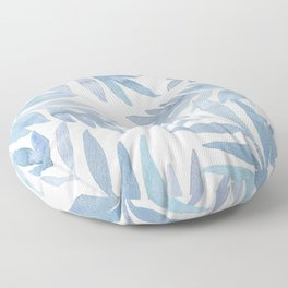 Muted Blue Palm Leaves Floor Pillow