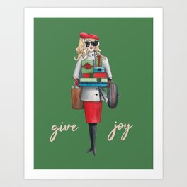 Give Joy for the holidays watercolor Art Print