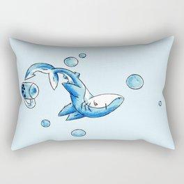 Blue Bubble Shark Rectangular Pillow