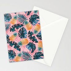 Pineapple and Leaf Pattern Stationery Cards