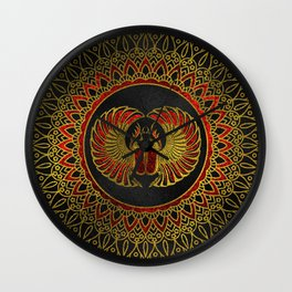 Egyptian Scarab Beetle - Gold and red  metallic Wall Clock